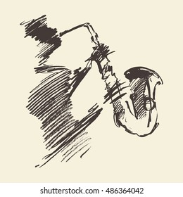 Man playing saxophone. Vintage hand drawn vector illustration, sketch.