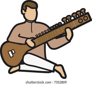 Man playing a sitar