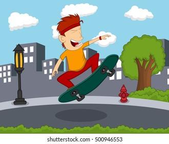 Man playing skateboard on the street cartoon vector illustration