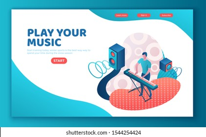 Man playing synthesizer, landing page template, musician with piano, music show or concert concept, 3d isometric illustration