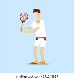 Man playing tennis. Sport competitions. Flat design vector illustration.