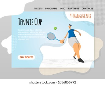 Man playing tennis. Vector illutration in abstract flat style, design template of sport site header, banner or poster.