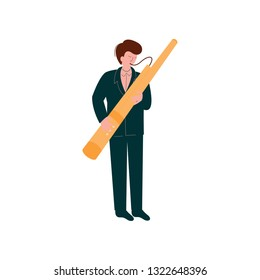 Man Playing Traditional Bassoon, Musician Playing Woodwind Instrument Vector Illustration