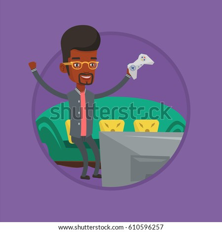 Man Playing Video Game Man Game Stock Vector Royalty Free
