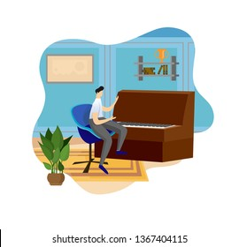 Man Playing Wooden Piano at Indoor Interior Background. Musical Lesson in Class Room. Young Artist Performing Music Composition. Talented Guy, Creative Hobby. Cartoon Flat Vector Illustration, Icon