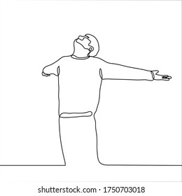 The man with pleasure spread his arms to the sides and raised his face to the sky. The guy stands and smiles and freely breathes air in full. One continuous line drawing concept of bliss, freedom