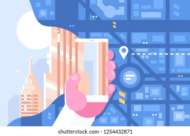 Man plots route using smartphone app. Modern gadget in male hand with city map on screen flat style concept vector illustration. Mobile phone navigation technology online