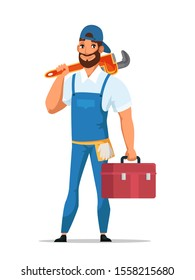 Man plumber holding wrench and tools box in hands stands isolated on white backdrop. Smiling cartoon professional adult bearded serviceman character in uniform ready for work. Vector flat illustration
