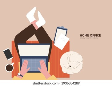Man point of view, working on laptop with dog resting by. Home office concept flat illustration design.