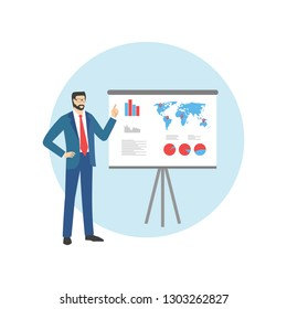 Man with pointer in presentation stand . Business lecture, seminar, report, presentation, coaching, meeting.  Male in Business Suit with Pointer