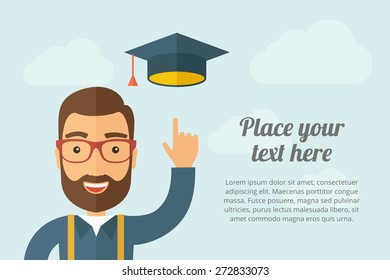 A Man pointing the graduation cap icon. A contemporary style with pastel palette, light blue cloudy sky background. Vector flat design illustration. Horizontal layout with text space on right part.