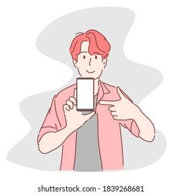 Man pointing at smartphone. Hand drawn flat character.