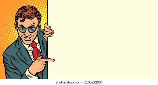 man points copy space background. horizontal orientation. Pop art retro vector illustration vintage kitsch drawing