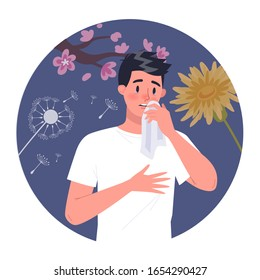 Man with polen allergy. Runny nose and watery eyes. Seasonal disease. Causes of allergy. Isolated vector illustration in cartoon style