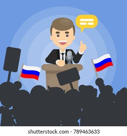 Man politician on debates with russian flags.