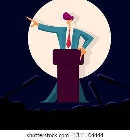 Man politician speaking to audience from tribune, public speake. Political debates. Vector illustration in flat style