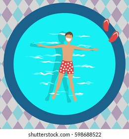 the man in the pool. vector illustration
