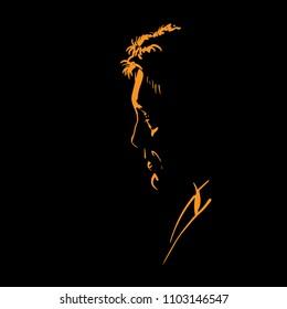 Man portrait silhouette in backlight. Vector.
