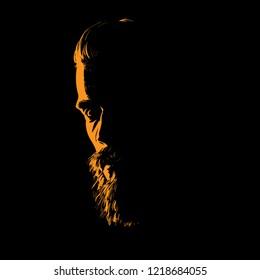 Man portrait silhouette in backlight. Vector. Illustration.