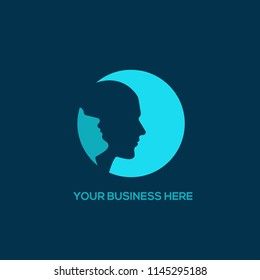 Man portraits in a circular icon.Vector logo suitable for men's grooming or psychology business.
