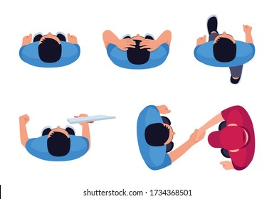 Man position flat vector illustrations set. Person moving forward. Man shake hands with deliveryman. Employee in blue shirt. Stressed driver. Male isolated cartoon one character top view kit