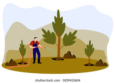 A man pouring water on a plant in the barren land after planting some herbs