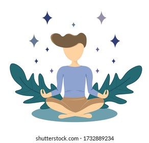 Man practices meditating, sitting in flora and star surrounded. The way make good mental health. Relax after work, concentration and recreation concept. Flat cartoon vector