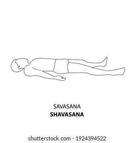 Man practicing yoga line icon isolated on white background. Man doing yoga pose. Man lying on the ground in Shavasana Corpse Pose or Mrtasana Pose, outline illustration icon . Yoga Asana linear icon