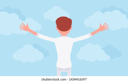 Man praising with stretched out arms, rear view. Young guy wearing white clothes open hands to sky, express approval, admiration of god, practicing relaxation. Vector flat style cartoon illustration