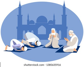 Man pray, prayer in islam. In minimalist style. Cartoon flat Vector Illustration
