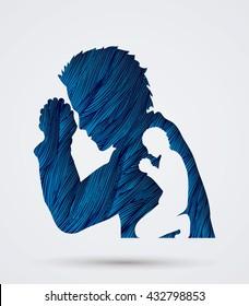 Man prayer designed using blue grunge brush graphic vector.