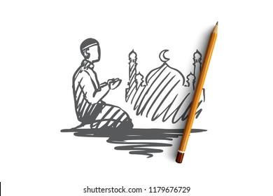 Man, prayer, religion, muslim, arabic, islam, mosque concept. Hand drawn muslim man doing pray standing knees on concept sketch. Isolated vector illustration.