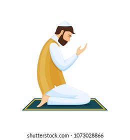 Man praying on his knees, communicating with God, with eyes closed. Ramadan Kareem, prayer sticking to the Koran, home and in mosque. Fulfillment of prayer process, Muslims. Vector illustration.