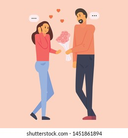 Man presenting flower bouquet to girl on date. Confused woman getting flowers from smiling boy. Couple meeting through online dating app or website. Flat cartoon vector illustration