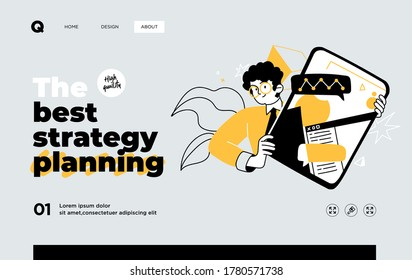 Man presenting strategy. Presentation slide template or landing page website design. Business concept illustrations. Modern flat style. Vector