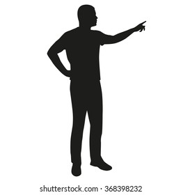 Man presenting, vector silhouette