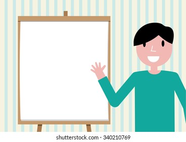 man presenting, white billboard with empty space
