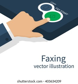 Man presses a button on a fax machine, a fax transmission. Office equipment. Hand pushing start. Vector illustration.