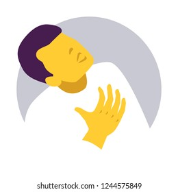 Man presses his hand to his chest. Chest pain. Aching place. Lung Cancer or Heart attack symptom. Infographic. Vector illustration. Healthcare poster or banner template.