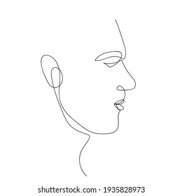 A man profile. Continuous line illustration. Face, human. Trendy, one line print design. Black and white. Vector illustration