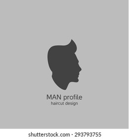 man profile. haircut design and barber shop logo. vector