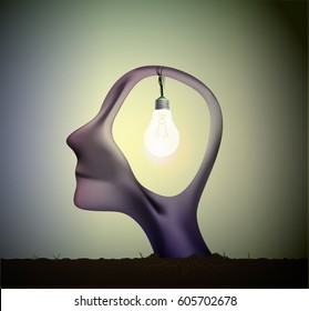 man profile head with bulb inside, inspiration dream, think different,surrealistic dream, vector