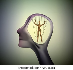 man profile head with marionette inside, manipulate the people concept, vector