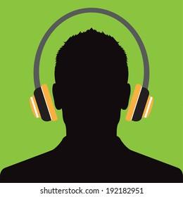Man profile with headphone music - Vector