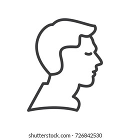 man profile vector line icon, sign, illustration on background, editable strokes