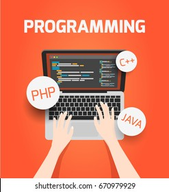 Man programming on laptop or coding php or html vector concept illustration