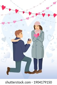A man proposes to a woman to marry on February 14. Young man on his knees proposing a young beautiful girl for marriage with a ring. Flat design illustration.