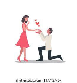 Man proposes a woman to marry. Wedding, marriage concept. Young guy on knees proposing young beautiful girl for marriage. flat design
