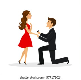 Man proposing to a woman standing on knee vector illustration