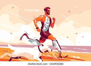 Man with prosthetic legs running on seashore vector illustration. Jogging athlete with prostheses and dog flat style design. People with disabilities and healthy lifestyle concept